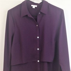 J Jill Womens Purple Button Up Top Small